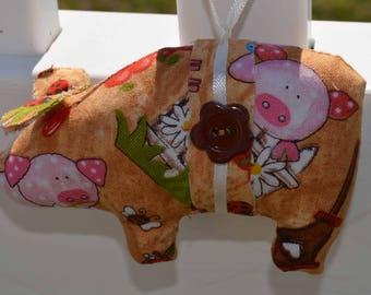 farm yard fabric pig, fabric pig, pig ornaments, novelty ornament, home decor pig