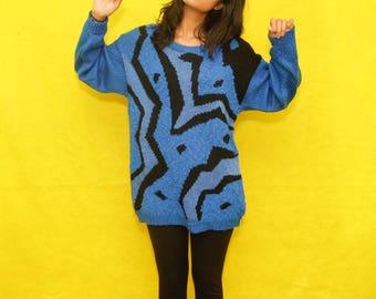 Vintage 80s Blue & Black Pullover Sweater Art Patterns
