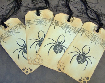 Goth or Halloween Spider Vintage Themed Hand Stamped Gift Tags - set of 4 Medium Gift Tags