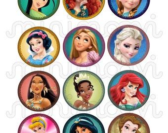 Set of 12 Disney Princess Printable Cupcake Toppers