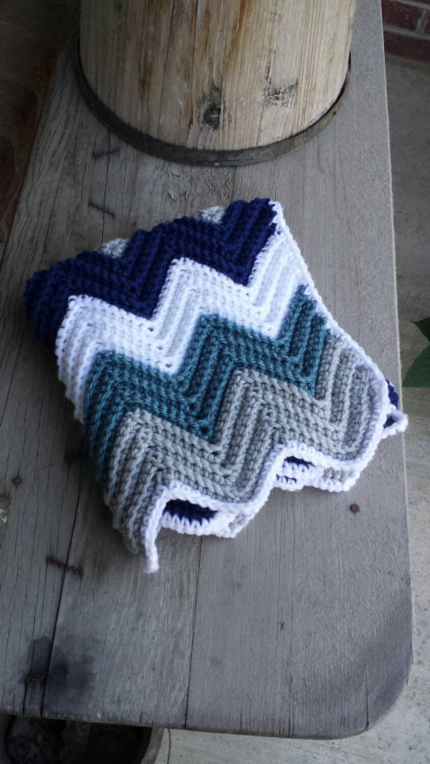 Crochet chevron baby car seat blanket with holes for car seat