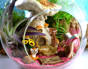 "NEW Fairy Garden Kit ~ 7"" Air Plant Terrarium Kit ~ Mushroom House ~ 2 flower choices ~ Spring Garden ~ Sand Choice ~ Miniature Gardens"