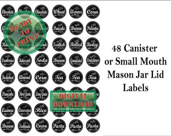 48 Chalkboard Labels Printable ~ Mason Jars or Canisters ~ 4 JPG Sheets Small Mouth Lid Baking Dry Goods Tags ~ Flour, Sugar, Coffee, Pasta