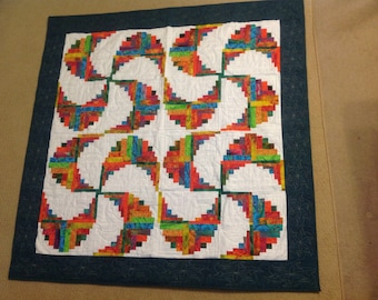 Curvy log cabin, quilt, wall hanging