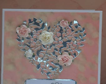 Card mother engraved heart and roses