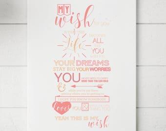 My Wish Lyrics Custom Print