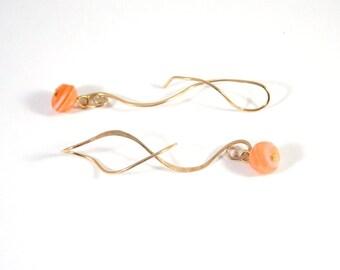 Gold Earrings Fire Agate Earrings Stone Earrings Dangle Earrings