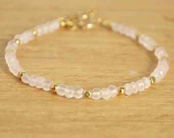 Rose Quartz Bracelet - Pink Gold Bracelet - Dainty Gemstone Bracelet - Romantic Gift For Her - Heart Chakra Jewelry