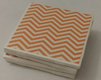 Orange Chevron Coasters