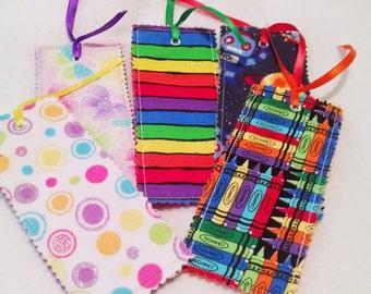 Scrap bookmark- fabric bookmark - book lover - teacher gift - school gift - book accessory - birthday party favor - reader gift