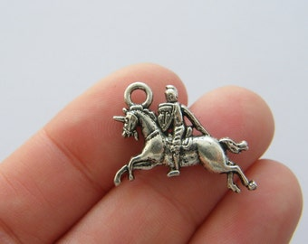 6 Knight on unicorn charms antique silver tone SW50