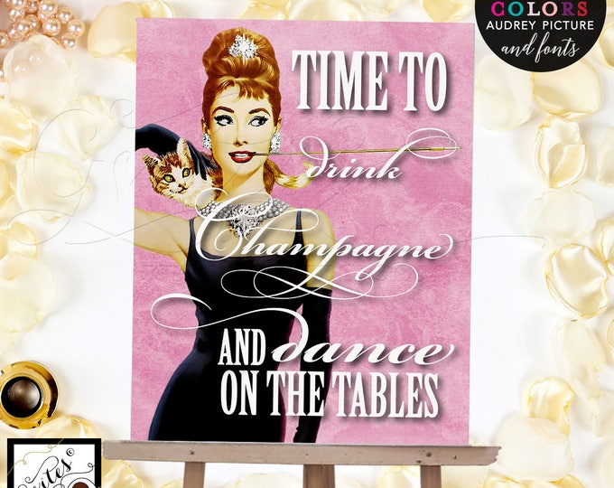Pink Audrey Hepburn canvas print, wall art, home decor, kitchen decor, party signs, drink champagne, CUSTOMIZABLE digital file only!