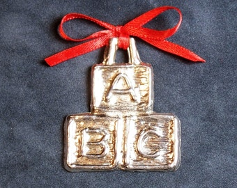 Pewter ABC Block Ornament