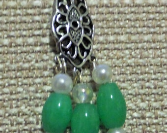 """Tricia's """"One of a Kind""""Jade earrings,925Sterling Hooks.1-3/4""""drop, soft green, great for summer."""