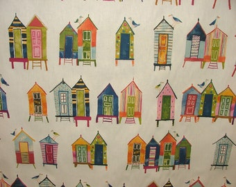 Neopolitan Beach Hut Coastal Nautical Seaside Theme Cotton Curtain Upholstery Fabric