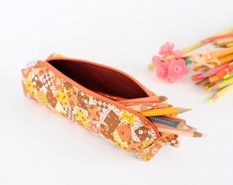 SALE   Pencil Bag - Orange Patch Pattern Vintage Fabric - Zipper and Loop