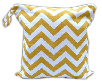 SALE / Large Wet Bag in Yellow Chevron with Snap Handle