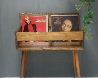 VINTEDGE MODERN Dual Display Wood Record Album Storage Stand