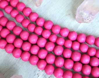 4mm beads, pink beads, girl beads, wood beads, vibrant beads, colorful beads,