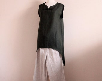linen outfit swalow top and toggle peasant pants made to order / minimalist linen / casual linen top and pants / Asian style linen outfit