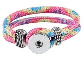 Bracelet / Eco leather Doublebeads Support. for 1 snap button (M) - multicolored - BRADBCPU15COL394