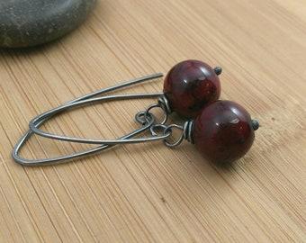 Red Gemstone Earrings Semi Precious Gemstone Red Quartzite Stone Earrings Oxidized Sterling Silver Rustic Oxidized Earrings Gothic Earrings
