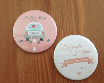Set of 20 Magnet - 56mm personalized Save the Date or other...