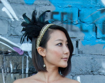 Green Black Feather Headdress with Vintage Gold Trim and iridescent Feathers
