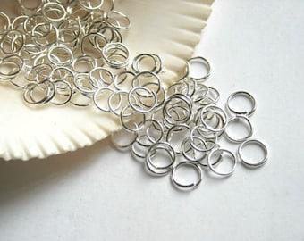 300 Silver Plated Open Loop Jump Rings 6mm - 7-4