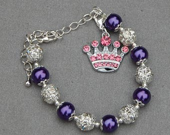 Crown Bracelet, Crown Jewelry, Princess Bracelet, Girls Bracelet, Girls Jewelry, Girl Birthday Present, Pageant Bracelet