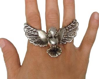 Bird Ring      silver gold birdie statement jewelry