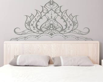 Headboard Wall Decal   Lotus Flower Vinyl Wall Decals For Bedroom    Bohemian Decoration For Bedroom