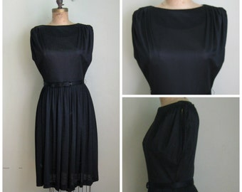 Practically Polly Perfect Black Dress// 1960's// Belted// LBD