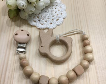 Pacifier Holder with wooden bunny teether