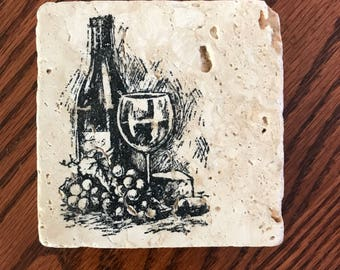 Wine Stamped Stone Tile Coasters