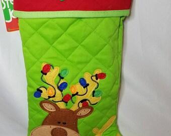 Personalized Christmas Reindeer Stocking ,Kids Christmas stocking, personalized stocking, Holiday Stocking, Monogrammed Stocking