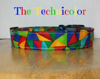 "Bright Multicolor Blue, Red, Green and Yellow Symmetric Dog Collar ""The Technicolor"""