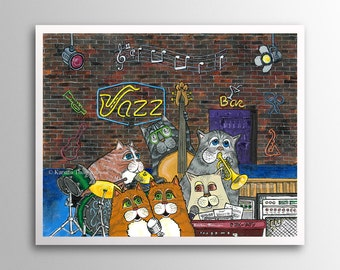 Jazzy Cats – The Twinkle Twins | Art Print | Whimsical Cat Musicians in Jazz Club