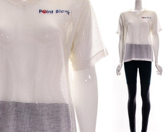 Vintage white mesh shirt POINT BLANK White Mesh T-Shirt Athletic Top Jersey Sheer Health Goth See Through Top Xs S M