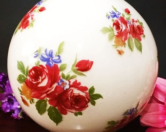 """Mid Century """"Gone with the Wind"""" Round Glass Globe/ Shade 4"""" Fitter Burgindy Pink Roses"""