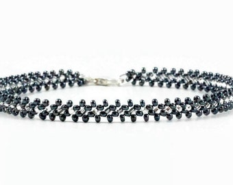 Hematite Anklet - Bead Ankle Bracelet - Beadwork Jewelry - Beaded Anklet - Foot Jewelry - Beach Anklet - Seed Bead Anklet