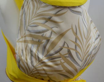 MEI TAI Baby Carrier , Bei-dai, Meh-dai / Sling / Reversible / Palmiera with Yellow / Cotton / Handmade / Made in UK
