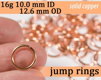 16g 10.0 mm ID 12.6 mm OD copper jump rings -- 16g10.00 jumprings links