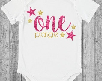 One personalised name bodysuit onesie first birthday cake smash party romper