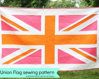 Union Jack Patchwork Flag quilt pattern PDF instant download