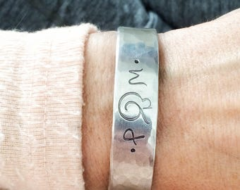 and the two became one. Engagement. Wedding Gift. Bride. Bridal. Hand Stamped Personalized Initial Bracelet