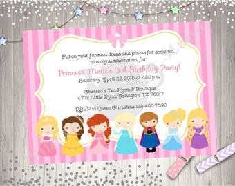 Princess Birthday Inivtation disney princess tea party birthday invitation invite printable