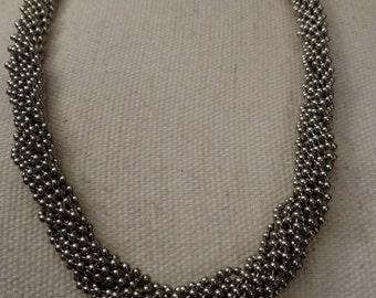 Heavy Twisted Necklace, Ball Chain, Multi Strand, Vintage, High Quality