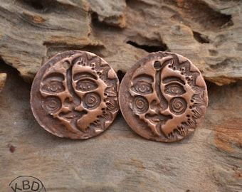 Copper Sun Moon Rounds (1 pair)