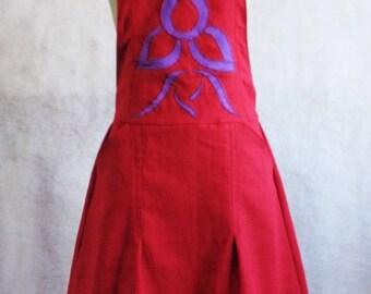 Red linen apron dress